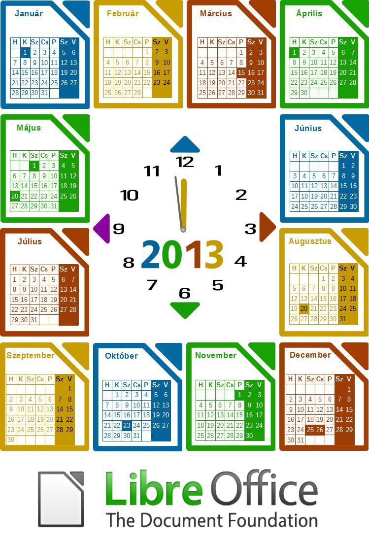 LibreOffice naptár 2013